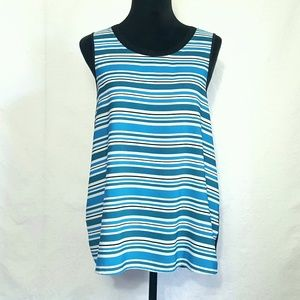 Trouve Blue Black Stripe Sleeveless Top